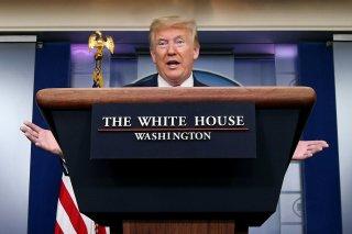 FILE PHOTO: U.S. President Donald Trump speaks during the coronavirus response daily briefing at the White House in Washington, U.S., April 10, 2020. REUTERS/Yuri Gripas/File Photo